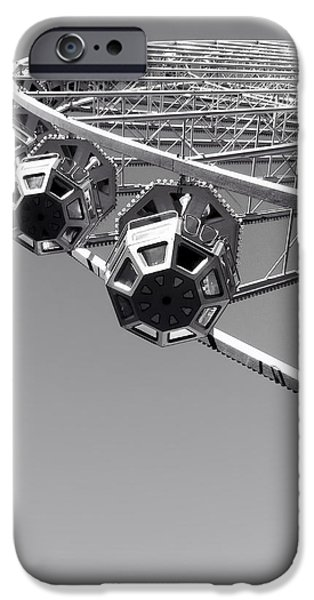 Lyon iPhone Cases - Ferris Wheel in Lyon France iPhone Case by Guenaelle Steinberger