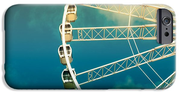 Enjoying iPhone Cases - Ferris wheel old photo iPhone Case by Jane Rix