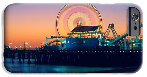 Santa iPhone Cases - Ferris Wheel On The Pier, Santa Monica iPhone Case by Panoramic Images