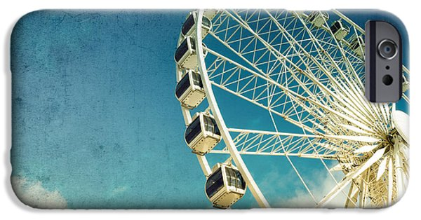 Amusements iPhone Cases - Ferris wheel retro iPhone Case by Jane Rix