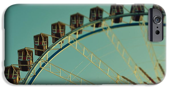 Oktoberfest iPhone Cases - Ferris Wheel tilt shift Octoberfest in Munich iPhone Case by Sabine Jacobs