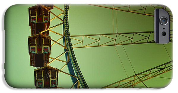 Oktoberfest iPhone Cases - Ferris Wheel Vintage at the Octoberfest in Munich iPhone Case by Sabine Jacobs