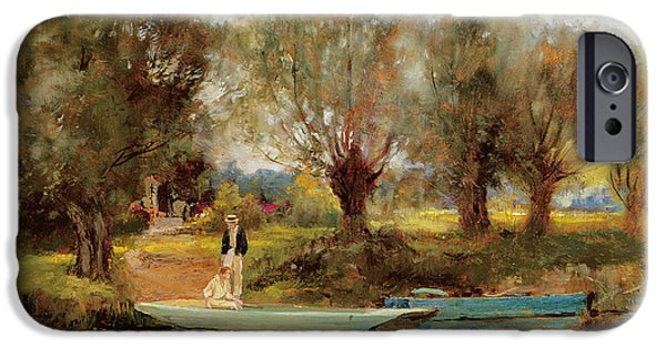 Punting iPhone Cases - Ferry at Clifton iPhone Case by Henry John Yeend King