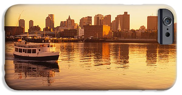 Commercial Photography iPhone Cases - Ferry Moving In The Sea, Boston Harbor iPhone Case by Panoramic Images