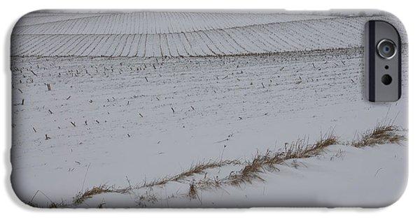 Snowy Day iPhone Cases - Fertile Farm Fields Sleeping Under the Snow iPhone Case by Georgia Mizuleva