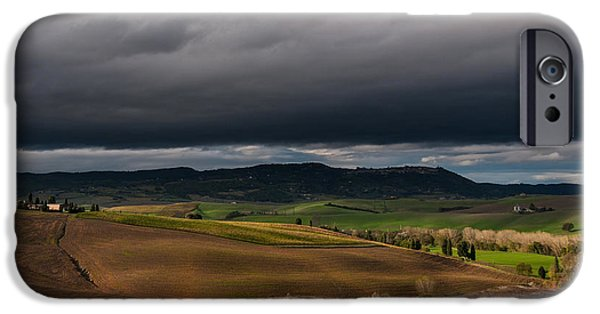 Field. Cloud iPhone Cases - Fertile Tuscan Fields iPhone Case by Alvin Kroon