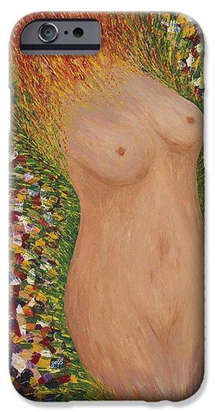 Fertility Paintings iPhone Cases - Fertility Goddess Nude Original Acrylic Palette Knife iPhone Case by Georgeta Blanaru