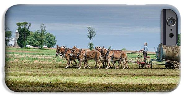 Amish Photographs Photographs iPhone Cases - Fertilizing iPhone Case by Guy Whiteley