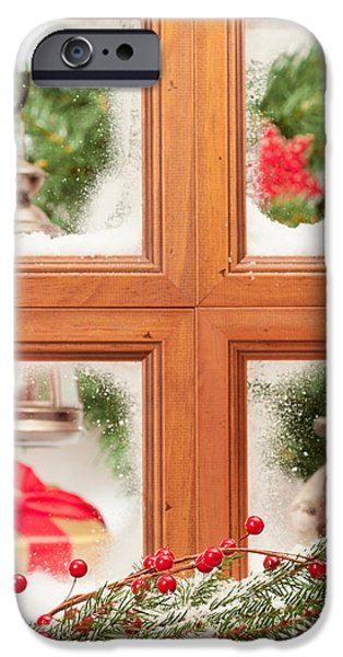 Snowy Scene iPhone Cases - Festive Christmas Window iPhone Case by Amanda And Christopher Elwell