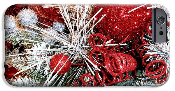 Wintertime iPhone Cases - Festive Red and White iPhone Case by Janine Riley