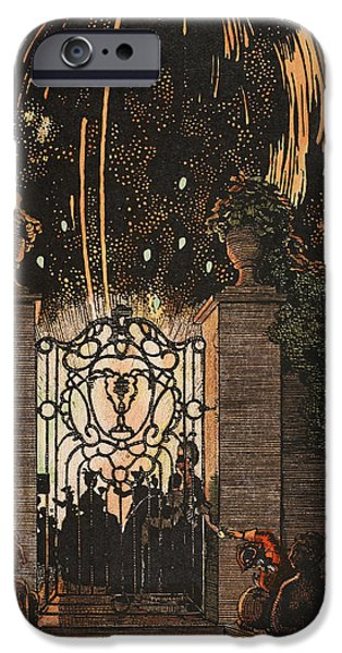 4th July Paintings iPhone Cases - Feu d artifice iPhone Case by Konstantin Andreevic Somov