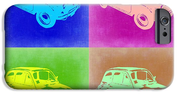 Concept Digital Art iPhone Cases - Fiat 500 Pop Art 2 iPhone Case by Naxart Studio