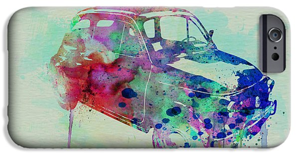 Automotive Drawings iPhone Cases - Fiat 500 Watercolor iPhone Case by Naxart Studio