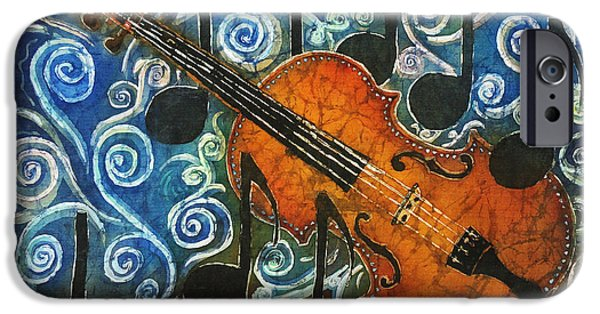 Music Tapestries - Textiles iPhone Cases - Fiddle 1 iPhone Case by Sue Duda