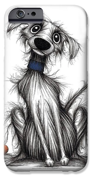 Dog With Ball iPhone Cases - Fido the dog iPhone Case by Keith Mills