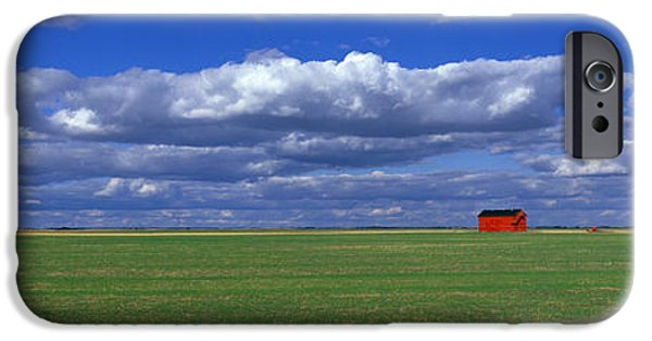 Agricultural iPhone Cases - Field And Barn Saskatchewan Canada iPhone Case by Panoramic Images
