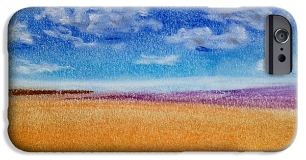 Field. Cloud Drawings iPhone Cases - Field and Clouds iPhone Case by Ursula Sellitto