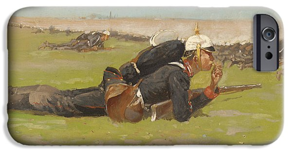 Frederic Remington iPhone Cases - Field Drill for the Prussian Infantry  iPhone Case by Frederic Remington