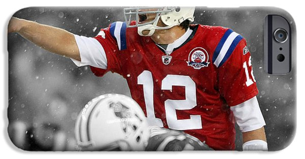 Tom Brady iPhone Cases - Field General Tom Brady  iPhone Case by Brian Reaves
