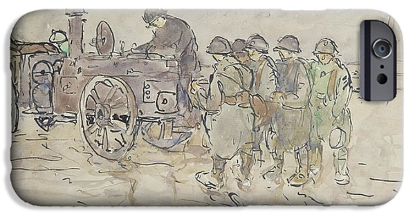 Wwi iPhone Cases - Field Kitchen on the Road to Belfort iPhone Case by Louis Robert Antral