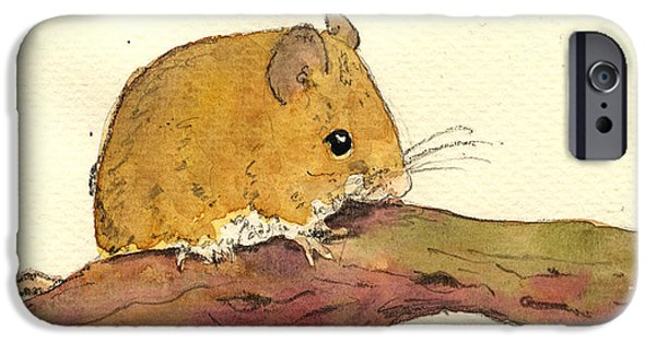 Mouse iPhone Cases - Field mouse iPhone Case by Juan  Bosco