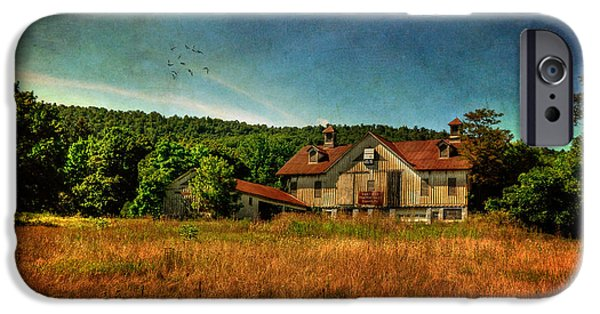 Old Barn iPhone Cases - Field of Broken Dreams iPhone Case by Lois Bryan