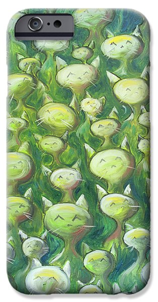 iPhone Cases - Field Of Cats iPhone Case by Nik Helbig