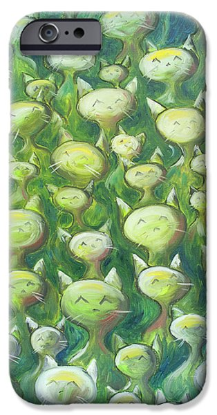 Paintings iPhone Cases - Field Of Cats iPhone Case by Nik Helbig