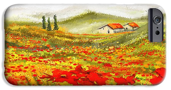 Red And Yellow iPhone Cases - Field Of Dreams - Poppy Field Paintings iPhone Case by Lourry Legarde