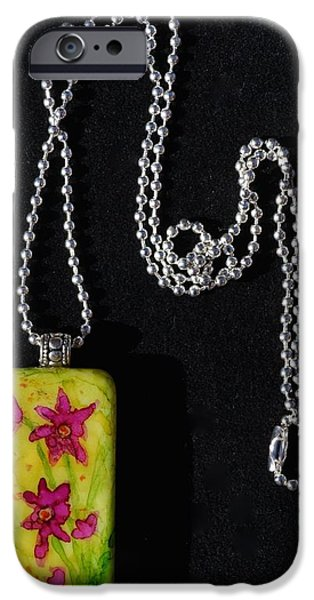 Florals Jewelry iPhone Cases - Field Of Flowers Domino Pendant iPhone Case by Beverley Harper Tinsley