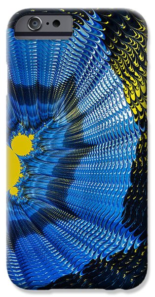 Field of force - yellow blue and black abstract fractal art iPhone Case by Matthias Hauser