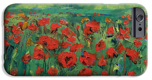 Field. Cloud iPhone Cases - Field of Red Poppies iPhone Case by Michael Creese