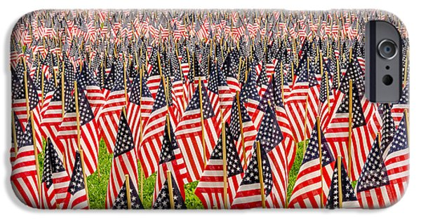 July 4th iPhone Cases - Field of US Flags iPhone Case by Mike Ste Marie