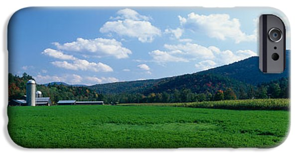 Agricultural iPhone Cases - Field With A Silo In The Background iPhone Case by Panoramic Images
