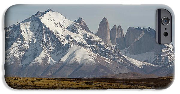 Mountain iPhone Cases - Field With Snowcapped Mountains iPhone Case by Panoramic Images