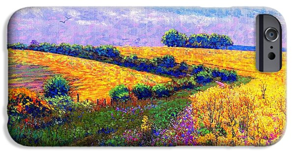 Farm iPhone Cases - Fields of Gold iPhone Case by Jane Small