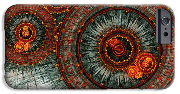 Abstract Digital iPhone Cases - Fiery  clockwork iPhone Case by Martin Capek