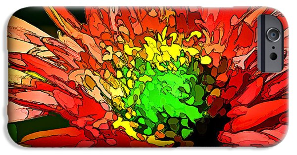 Floral Digital Art Digital Art Digital Art iPhone Cases - Fiery Mum iPhone Case by Bill Caldwell -        ABeautifulSky Photography
