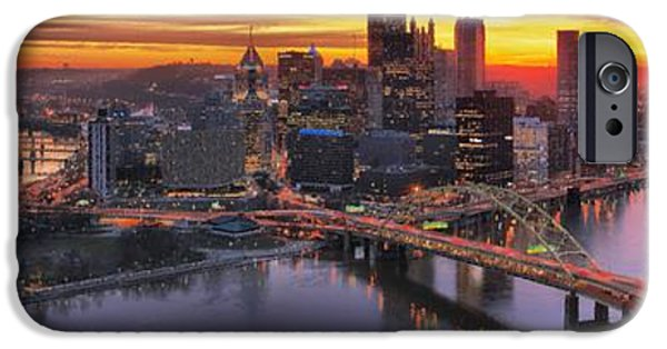 City Scape iPhone Cases - Fiery Pittsburgh Morning Digital Painting iPhone Case by Adam Jewell
