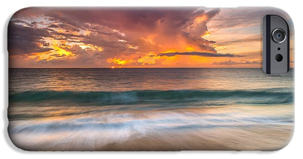 Rincon Beach iPhone Cases - Fiery Skies Azure Waters Rendezvous iPhone Case by Photography  By Sai