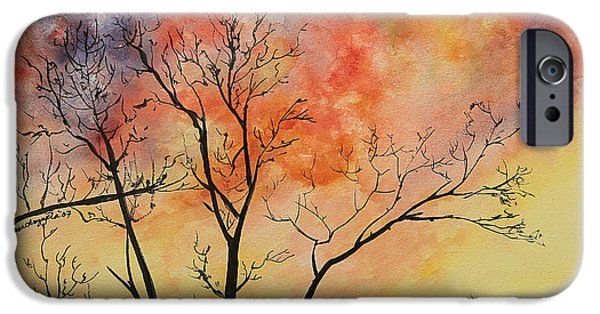 Painter Photo Paintings iPhone Cases - Fiery Sunset Painting iPhone Case by Janet Pancho Gupta