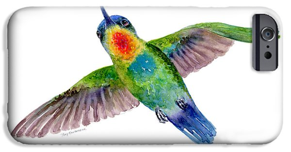 Lime iPhone Cases - Fiery-Throated Hummingbird iPhone Case by Amy Kirkpatrick