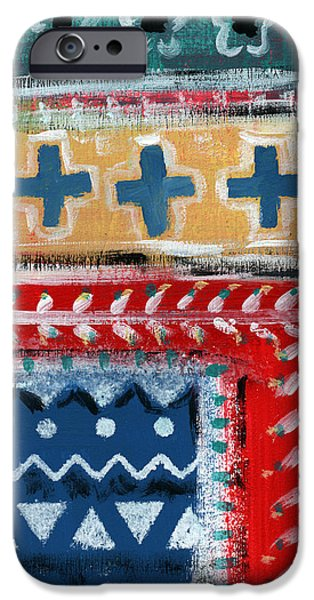 Ethnic iPhone Cases - Fiesta 3- colorful pattern painting iPhone Case by Linda Woods