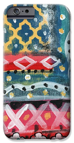 Ethnic iPhone Cases - Fiesta 4- colorful pattern painting iPhone Case by Linda Woods