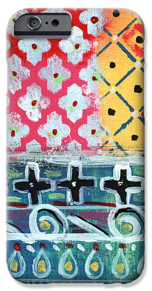 Celebration Mixed Media iPhone Cases - Fiesta 6- colorful pattern painting iPhone Case by Linda Woods