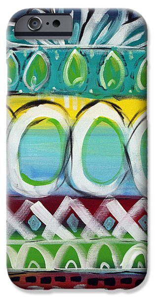 Stripes Mixed Media iPhone Cases - Fiesta - Colorful Painting iPhone Case by Linda Woods