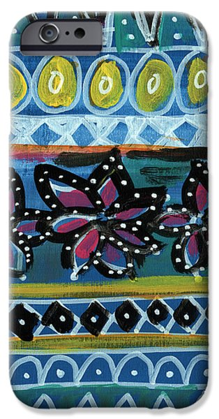 Ethnic iPhone Cases - Fiesta in Blues- abstract pattern painting iPhone Case by Linda Woods