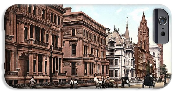 Horse And Buggy iPhone Cases - Fifth Avenue At Fifty First Street New York 1900 iPhone Case by Unknown