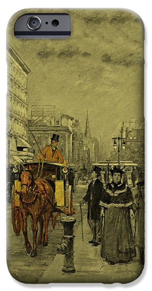 Business Drawings iPhone Cases - Fifth Avenue at Madison Square by Theodore Robinson 1894 iPhone Case by Movie Poster Prints