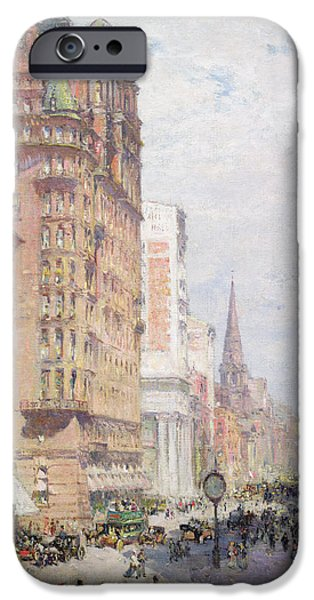 New York City Paintings iPhone Cases - Fifth Avenue New York City 1906 iPhone Case by Colin Campbell Cooper